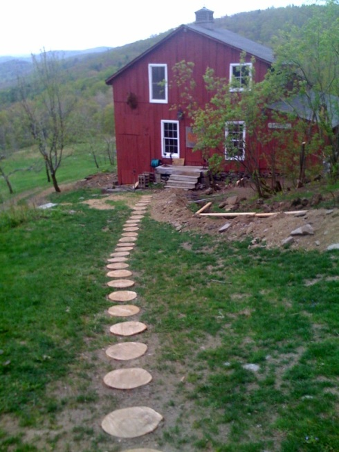 We made this stone path to the animal barn...